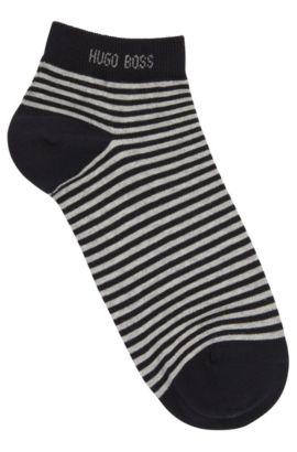 Striped trainer socks in stretch cotton: 'Marc', Dark Blue