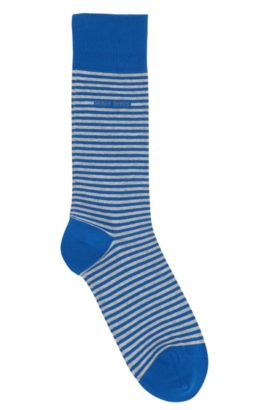 Chaussettes à rayures en coton stretch: «Marc Design», Turquoise