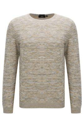 Unifarbener Slim-Fit Pullover aus Baumwolle: 'Fines-O', Hellbeige