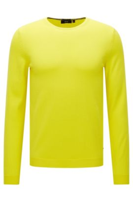 Plain-coloured slim-fit sweater in cotton: 'Fines-O', Yellow