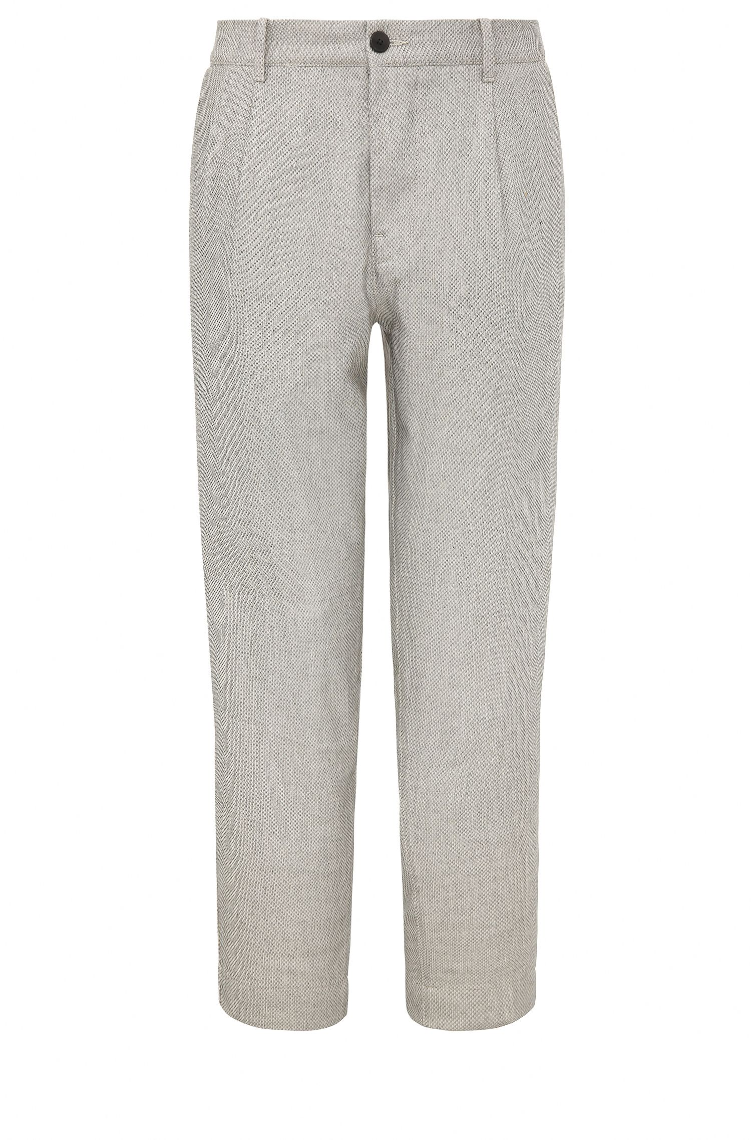 Relaxed-fit cropped trousers in material blend with linen: 'Suno-W'