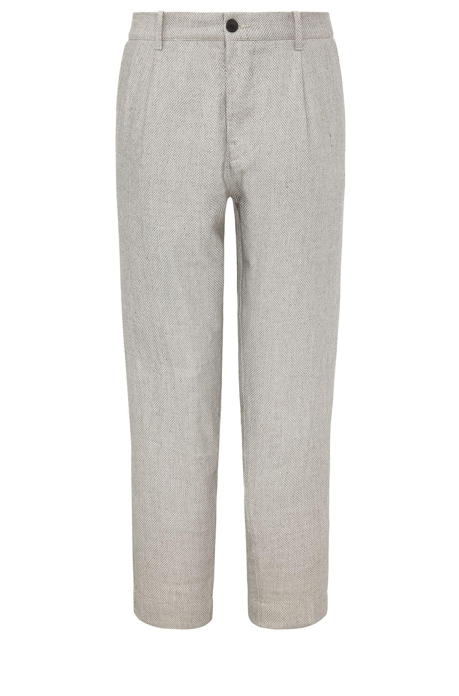 Pantalón tobillero relaxed fit en mezcla de materiales con lino: 'Suno-W'