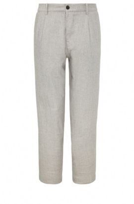 Relaxed-fit cropped trousers in material blend with linen: 'Suno-W', Beige