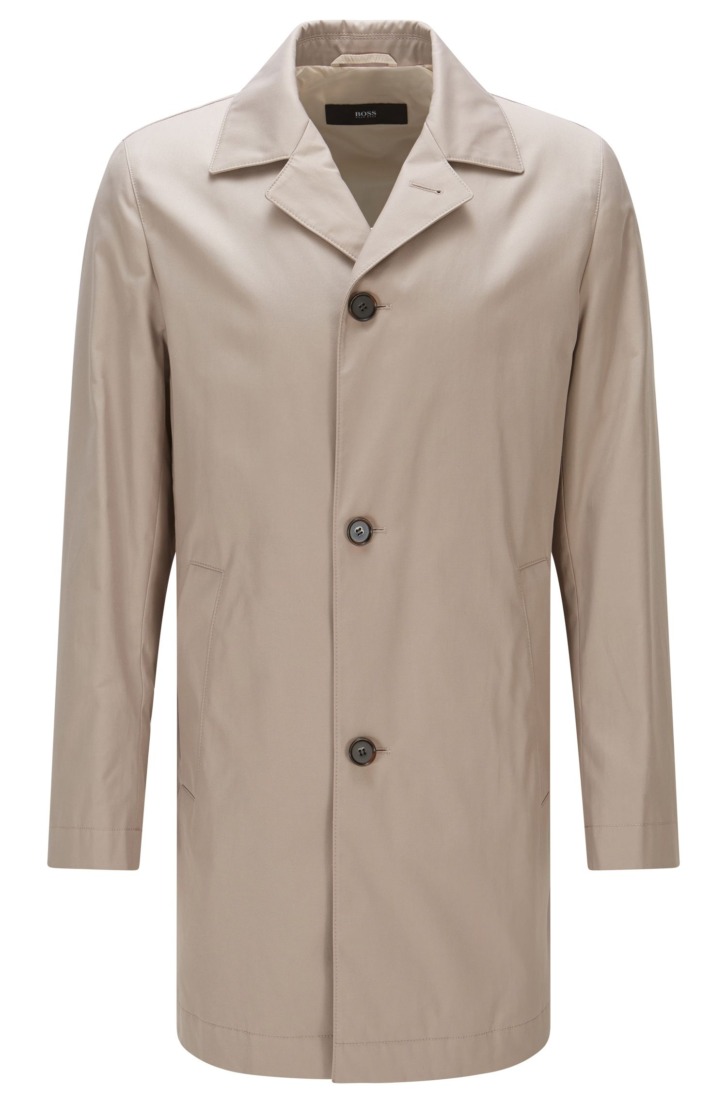 Water-repellent slim-fit coat in material blend with cotton: 'Dais12'