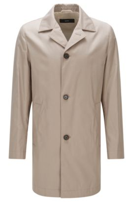 Water-repellent slim-fit coat in material blend with cotton: 'Dais12', Open Beige