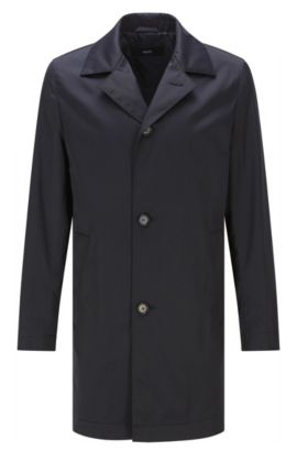 Water-repellent slim-fit coat in material blend with cotton: 'Dais12', Dark Blue