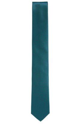 Finely checked silk tie: 'Tie 6 cm', Green