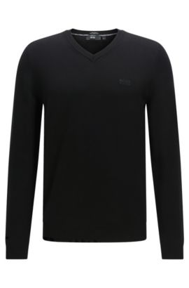 Regular-Fit Pullover aus Baumwolle: 'Fillipp-O', Schwarz