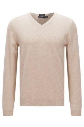 Regular-fit sweater in cotton: 'Fillipp-O', Open Beige