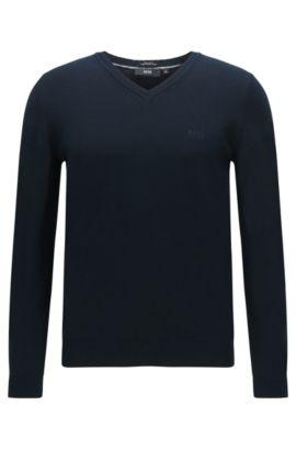 Pull Regular Fit en coton: «Fillipp-O», Bleu foncé