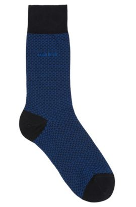 Sokken van een gemerceriseerde katoenmix met fijn dessin: 'RS Design', Donkerblauw