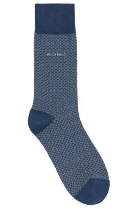 Calze a disegni fini in misto cotone mercerizzato: 'RS Design', Blu scuro