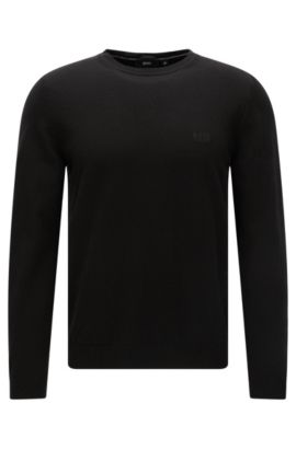 Jersey regular fit algodón con cuello redondo: 'Finello-O', Negro