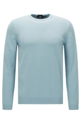 Maglione regular fit con scollatura a girocollo in cotone: 'Finello-O', Celeste
