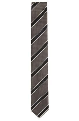 Cravate en soie à rayures: «Tie6cm», Gris