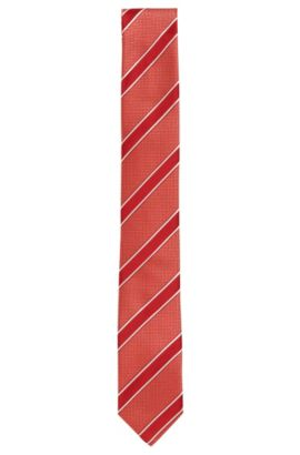 Striped silk tie: 'Tie 6 cm', Open Red