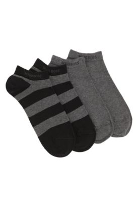 Trainer socks in stretch cotton blend in a double pack: 'Twopack AS Design', Black