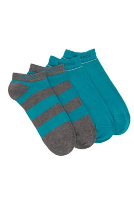 Trainer socks in stretch cotton blend in a double pack: 'Twopack AS Design', Grey