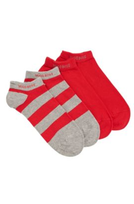 Trainer socks in stretch cotton blend in a double pack: 'Twopack AS Design', Silver