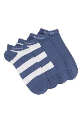 Chaussettes de tennis en coton mélangé extensible, en lot de deux: «Twopack AS Design», Bleu foncé