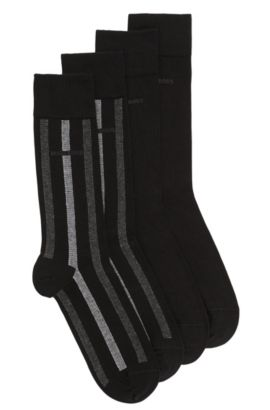 Socks in stretch cotton blend in a double pack: 'Twopack RS Design', Black