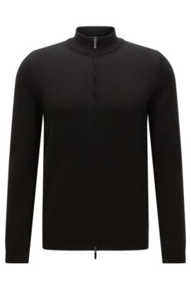 Slim-fit cardigan in cotton with 2-way zip: 'Ison-O', Black