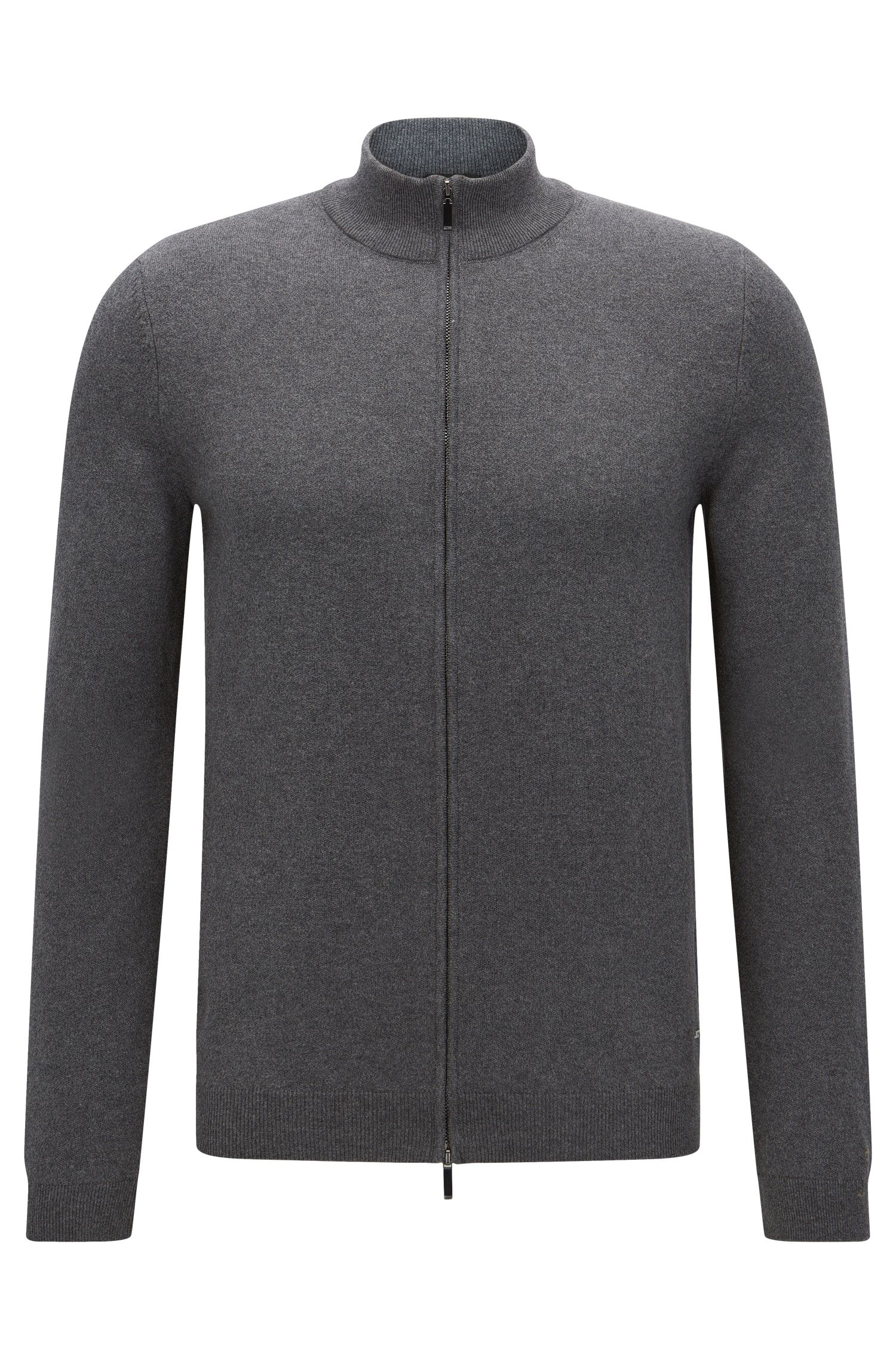 Veste en maille Slim Fit en coton dotée d'un zip à double curseur: «Ison-O»