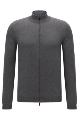 Slim-fit cardigan in cotton with 2-way zip: 'Ison-O', Grey