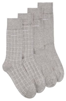 Socks in stretch cotton blend in a double pack: 'Twopack RS Design', Silver