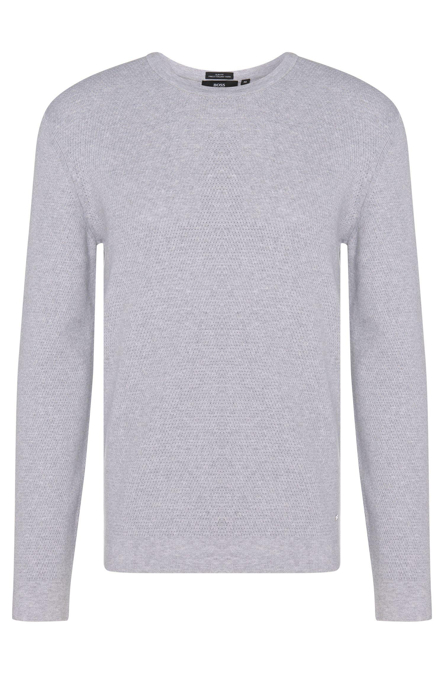 Gestructureerde slim-fit trui van zuiver katoen: 'Odam'