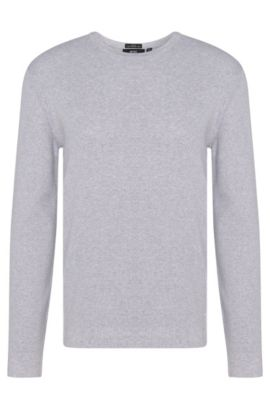 Textured slim-fit sweater in pure cotton: 'Odam', Open Grey