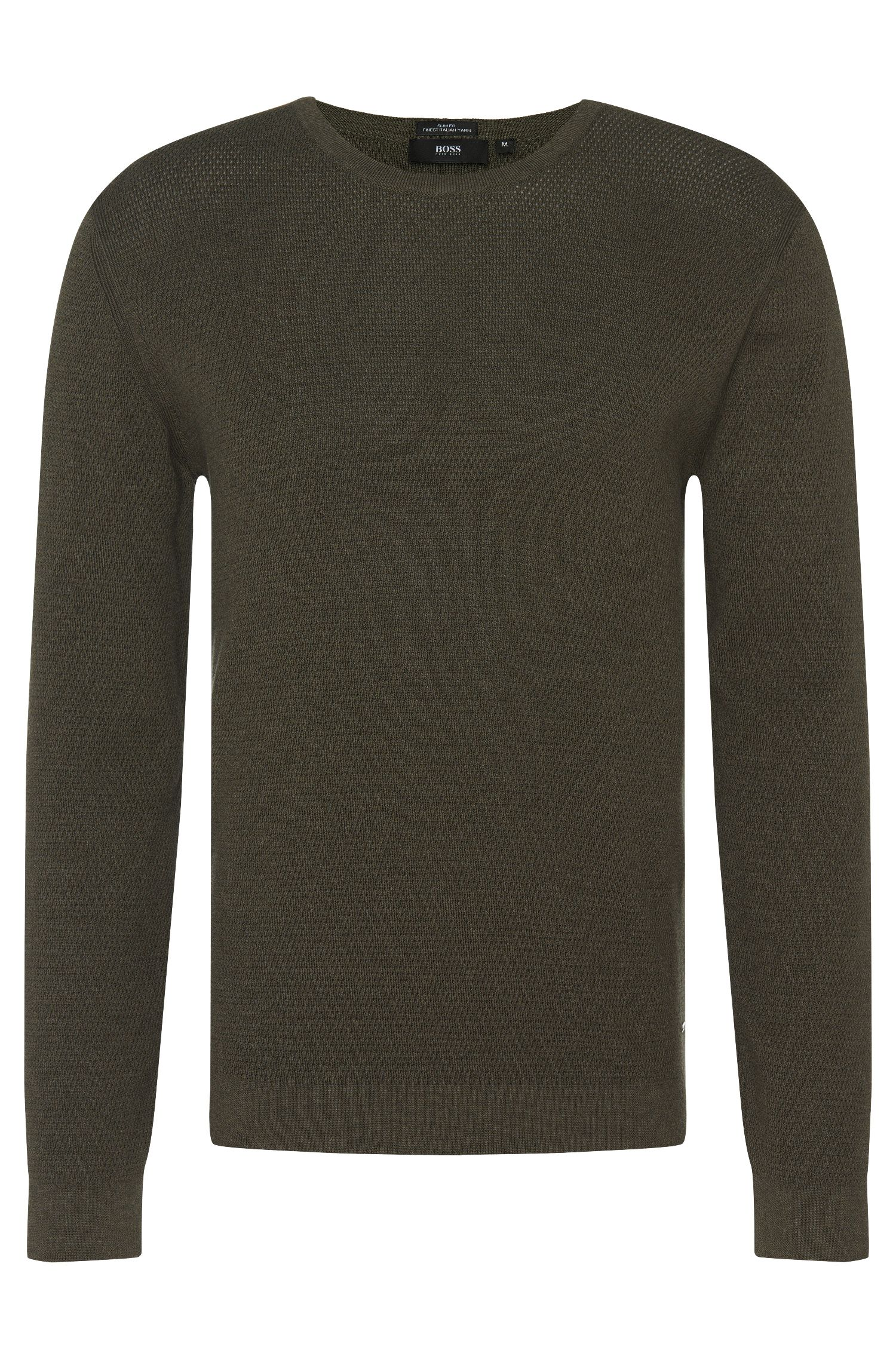 Textured slim-fit sweater in pure cotton: 'Odam'