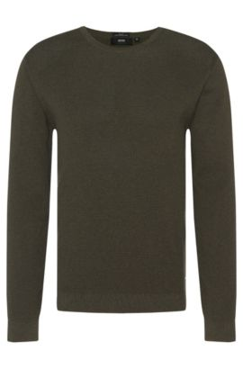 Textured slim-fit sweater in pure cotton: 'Odam', Dark Green