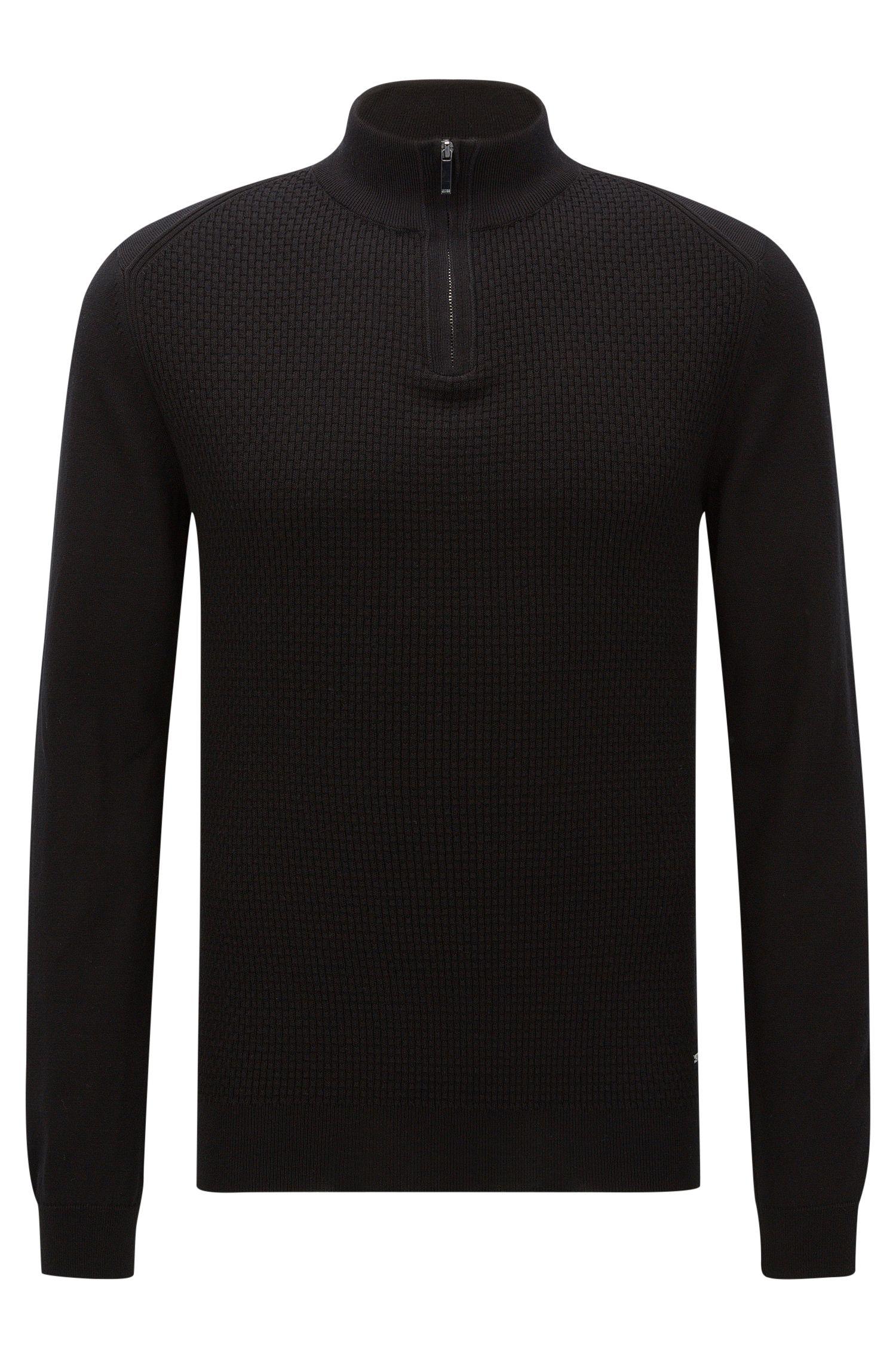 Regular-Fit Pullover aus Baumwolle mit Troyer-Kragen: 'Odino'