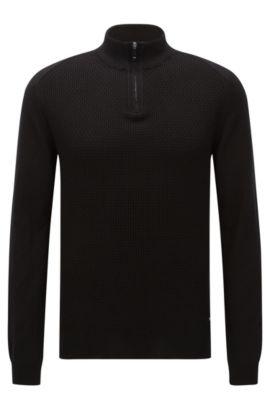 Regular-Fit Pullover aus Baumwolle mit Troyer-Kragen: 'Odino', Schwarz