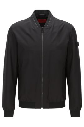 Regular-Fit Bomberjacke aus Material-Mix mit Details in Leder-Optik: 'Bestan1', Schwarz