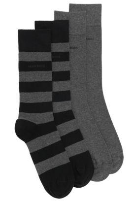 Socken aus elastischem Baumwoll-Mix im Zweier-Pack: 'Twopack RS Design', Schwarz