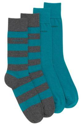 Socken aus elastischem Baumwoll-Mix im Zweier-Pack: 'Twopack RS Design', Grau