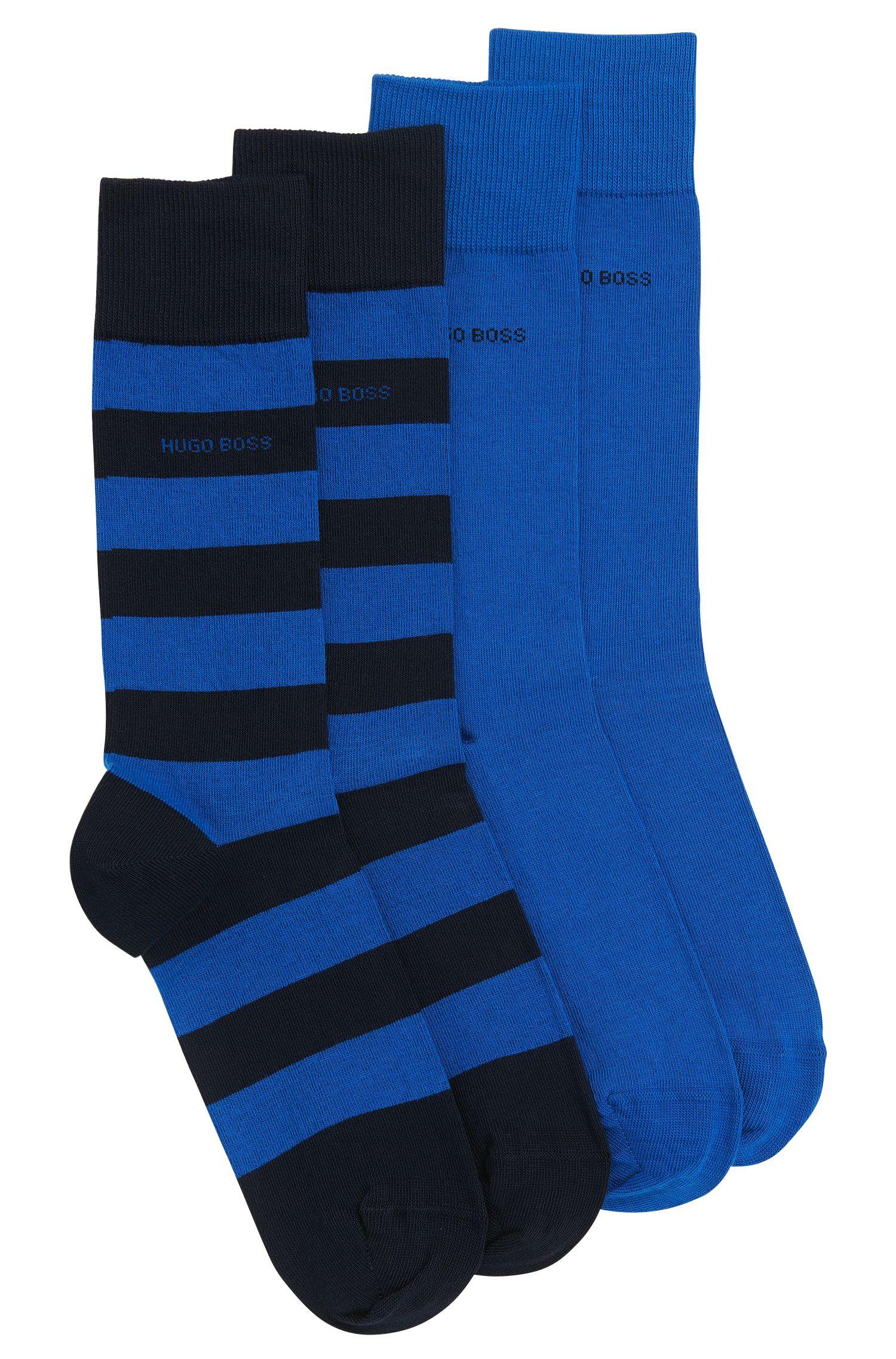 Set van twee paar sokken van een elastische katoenmix: 'Twopack RS Design'