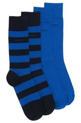Chaussettes en coton mélangé extensible, en lot de deux: «TwopackRSDesign», Bleu foncé