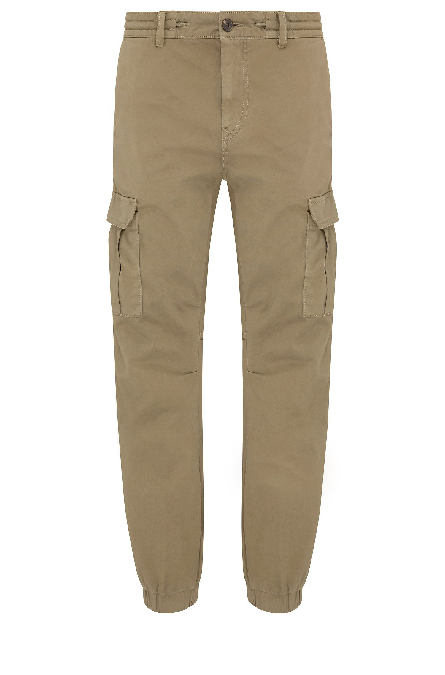 Tapered-fit cargo trousers in stretchy cotton: 'Shay1-D'