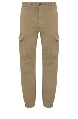 Pantaloni cargo tapered fit in cotone elasticizzato: 'Shay1-D', Verde scuro