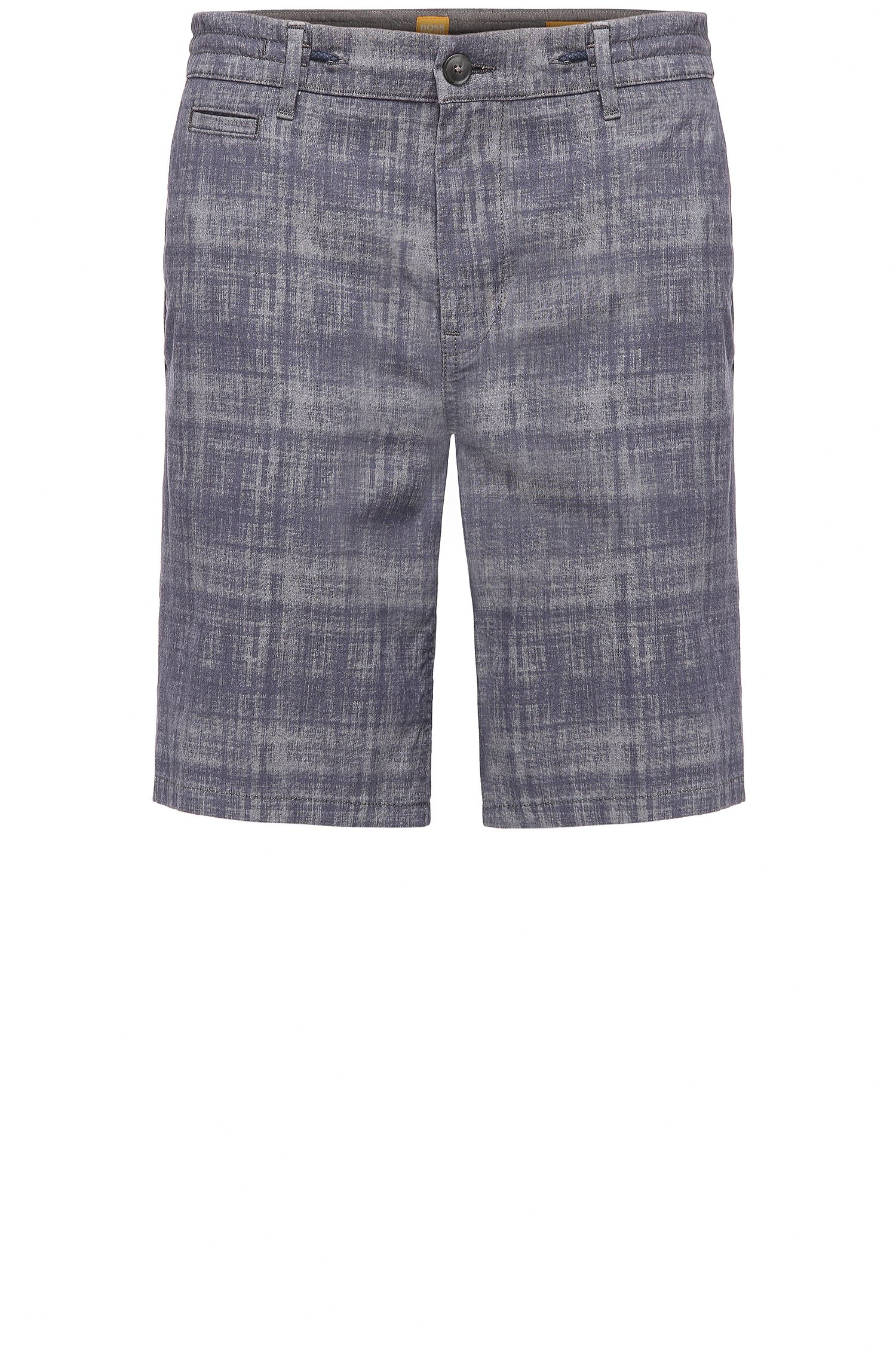 Tapered-Fit Karo-Shorts aus elastischer Baumwolle: ´Siman-Shorts-W`