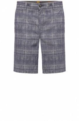 Short à carreaux Tapered Fit en coton extensible: «Siman-Shorts-W», Bleu foncé