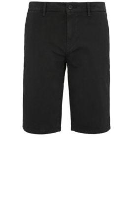Short Slim Fit en coton stretch de style chino: «Schino-Slim-Shorts-D», Noir