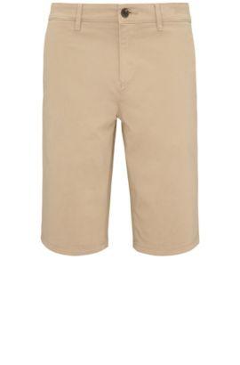 Shorts slim fit en algodón elástico en estilo chinos: 'Schino-Slim-Shorts-D', Beige