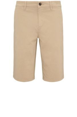 Slim-fit shorts made from stretch cotton in chino style: 'Schino-Slim-Shorts-D', Beige
