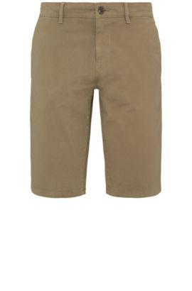 Slim-Fit Shorts aus Stretch-Baumwolle im Chino-Stil: ´Schino-Slim-Shorts-D`, Dunkelgrün