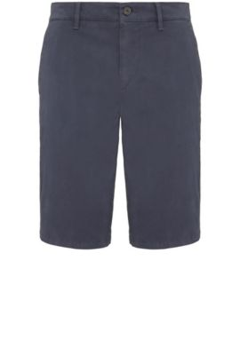 Slim-fit shorts made from stretch cotton in chino style: 'Schino-Slim-Shorts-D', Dark Blue