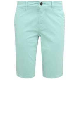 Slim-fit shorts made from stretch cotton in chino style: 'Schino-Slim-Shorts-D', Turquoise